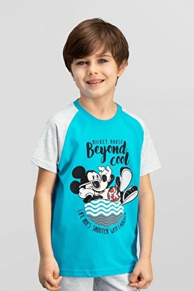 Mickey Mouse Lisanslı Oranj Erkek Çocuk T-Shirt Mavi